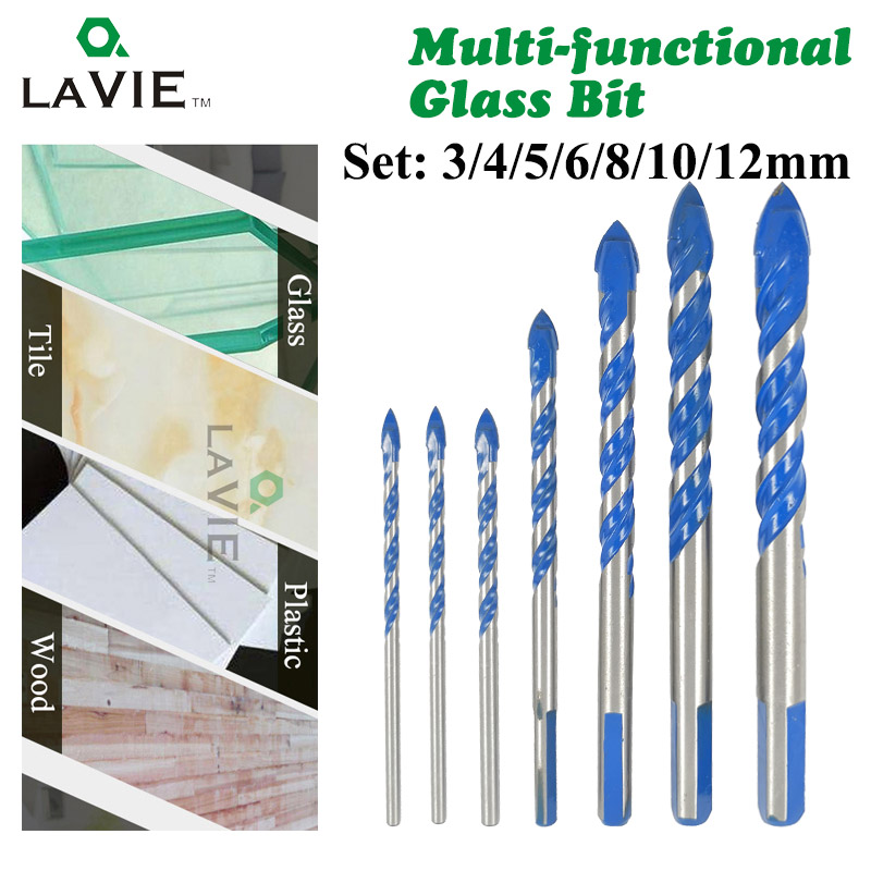 LAVIE 7pcs 3/4/5/6/8/10/12mm Multi-functional Glass Drill Bit Triangle Drill Bits For Ceramic Tile Concrete Glass Marble DB02061 punch 10 mm nickel plating glass drill bit marble ceramic tile x 6