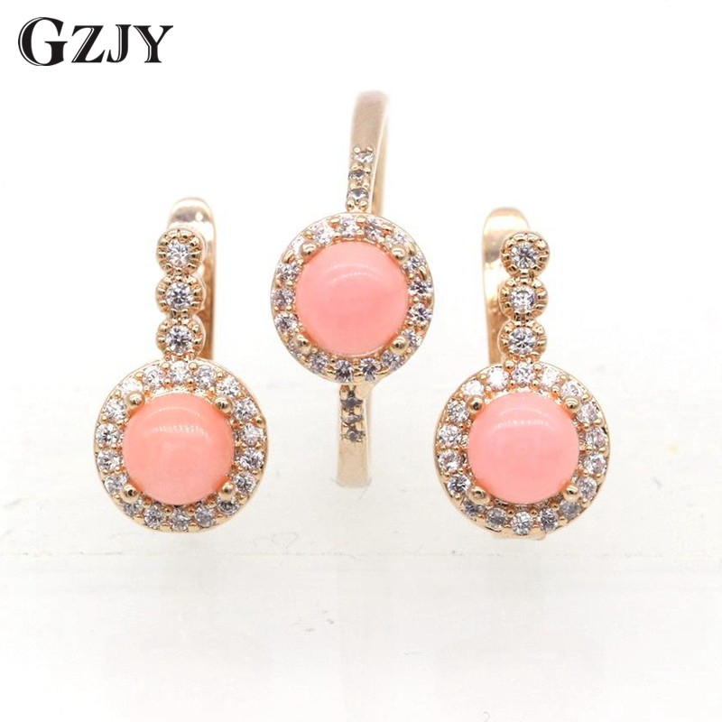 GZJY Fashion Charming Pink Coral AAA Zircon Earrings Ring Set For Women Gold Color Wedding Party Jewelry I03-2 charming solid color footprint cuff ring for women