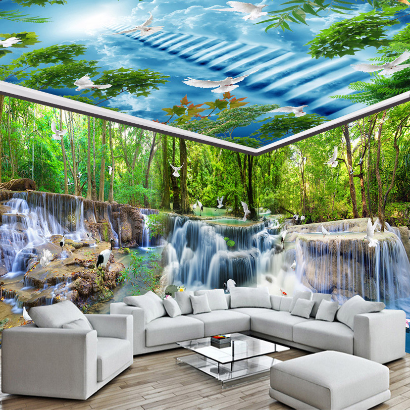 Custom Photo Wall Paper 3D Nature Landscape Waterfall Forest Pigeons Wall Painting Wall Decor Straw Texture Wallpaper Wall Mural