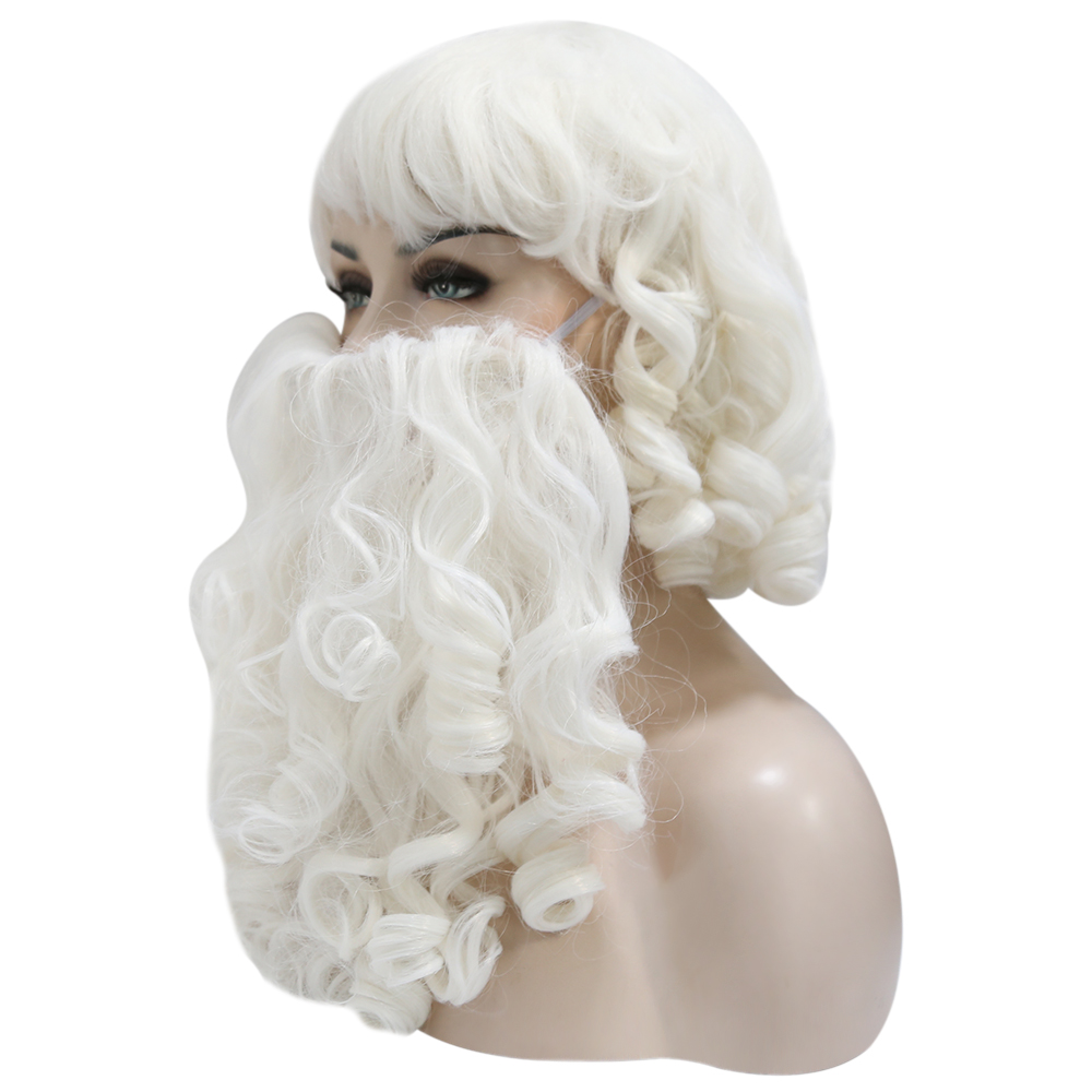 Santa Claus Beard and Wig Set Costume Wig for Christmas Gift Synthetic Hair Short Wigs for Men White Hairpiece Accessories in Christmas Hats from Home Garden