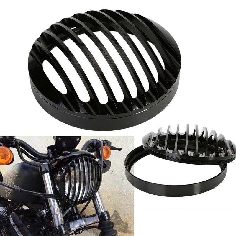 Hot Black 6 inch 6'' 5.75 inch 5 3/4 Aluminum Motorcycle Headlight Grill Cover for 2004 2014 Harley Sportster XL 883 1200