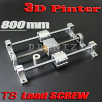 HOT sale 3D Printer guide rail sets T8 Lead screw length 800mm + linear shaft 8*800mm + KP08 SK8 SC8UU+ nut housing +coupling