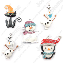 Free Shipping 5 pcs/lot Wholesale Frozen Olaf Bling Rhinestone Charms Pendant for Chunky Necklace Pendants(China (Mainland))