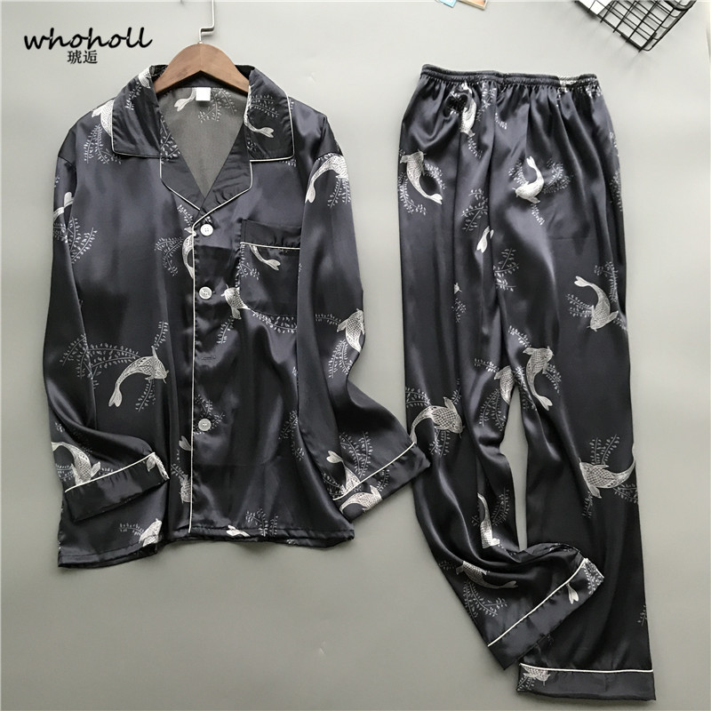 Whoholl 2019 New Satin Silk Pajamas Shorts For Men Rayon Silk Sleepwear Male Pajama Set Soft Nightgown For Men Pyjamas