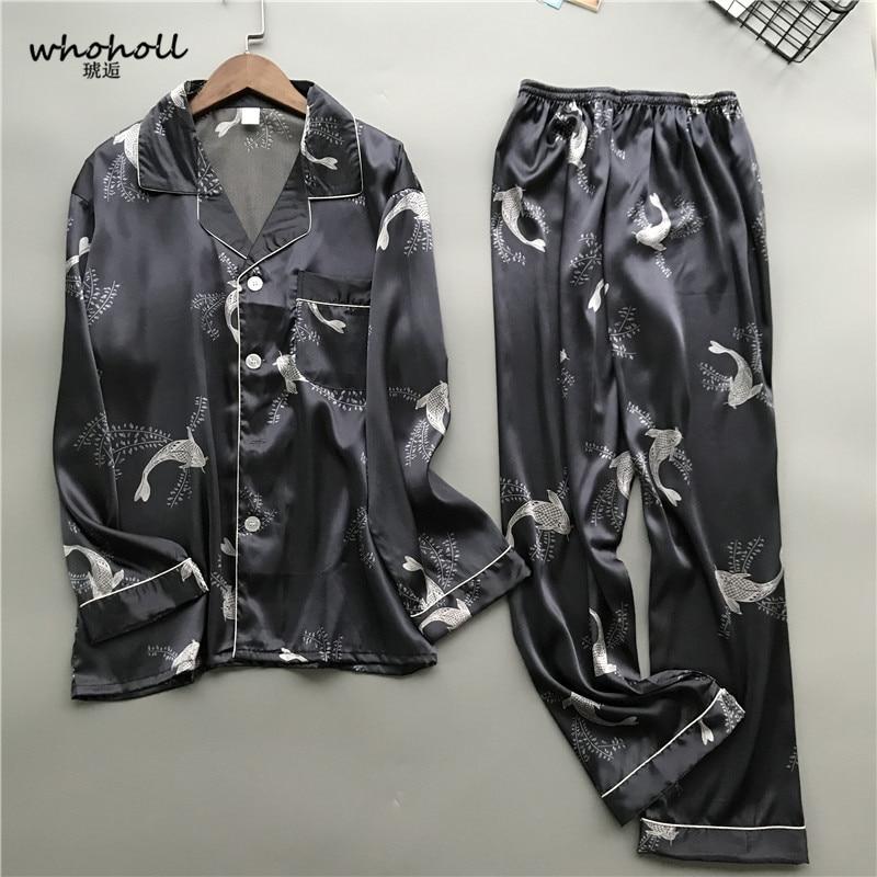 Whoholl 2019 New Satin Silk Pajamas Shorts for Men Rayon Silk Sleepwear Male Pajama Set Soft Nightgown for Men Pyjamas