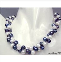 Charming 2 Row Black White Pearl Necklace And Free Gift