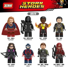 Single DC Super Hero Atom Rick Flag Legoings Supergirl Huntress Emiko Queen Justice League Figure Buidling Blocks Toys for Kids(China)