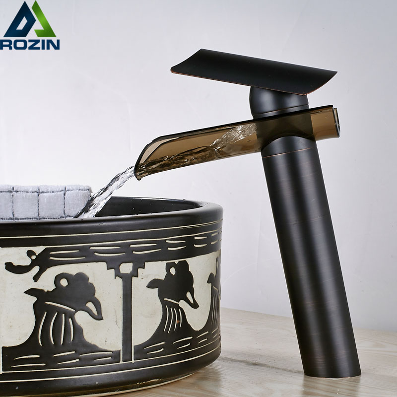 Black Bronze Bathroom Faucet Deck Mounted Waterfall Glass Spout Basin Mixer Tap Countertop Waterfall Hot Cold