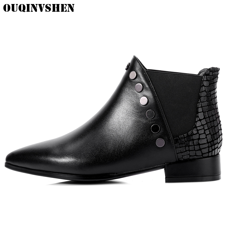 OUQINVSHEN Pointed Toe Square heel Women Boots Rivet Solid Ladies Ankle Boots Winter low heel Genuine Leather Women's Boots new arrival superstar genuine leather chelsea boots women round toe solid thick heel runway model nude zipper mid calf boots l63