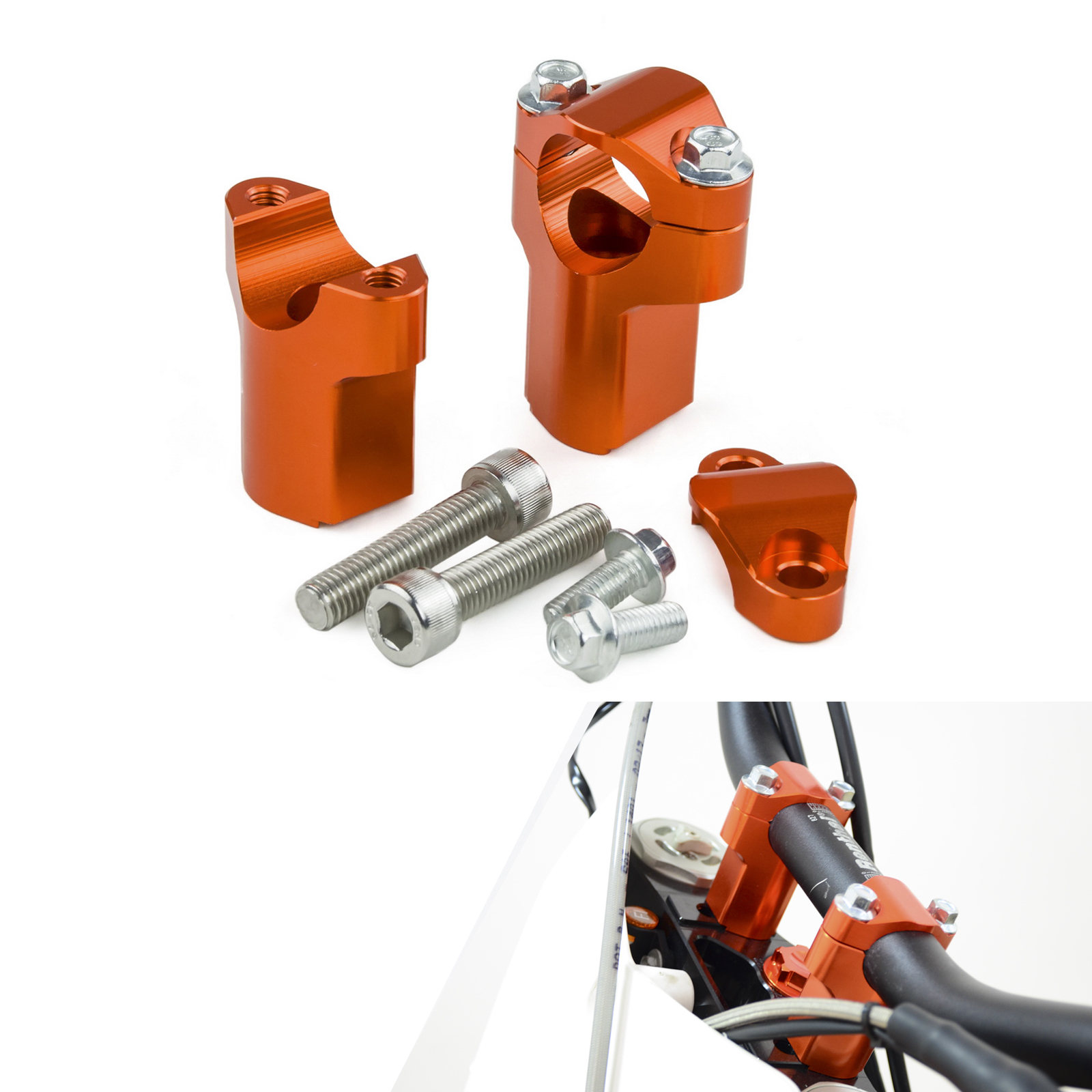 Motorcycle Handlebar Raiser 52mm Height Mounts Clamp For KTM 85 125 250 300 400 450 500 525 530 EXC SX SXF XCF XC FREERIDE motorcycle front rider seat leather cover for ktm 125 200 390 duke