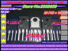 Aoweziic 2018 + 100% nuovo originale importato TIP35C TIP36C TIP35 TIP36 TO 247 tubo ad alta potenza a transistor tubo amplificatore