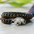 New 6mm Tiger Eye Beaded Strand Bracelet, Handmade Strand Bracelet Elephant Button, Wholesale Tiger Eye Pulseira de couro