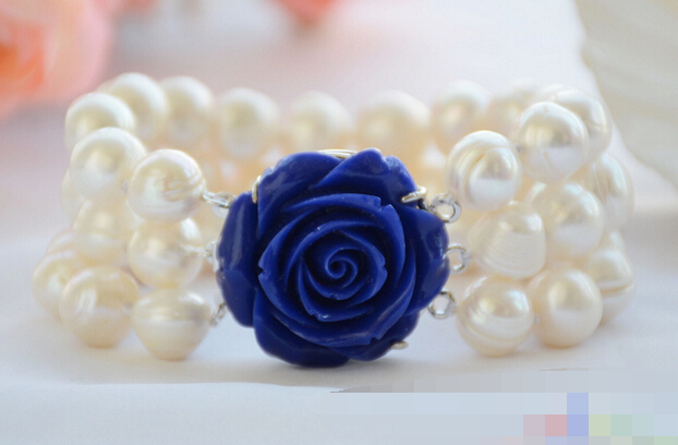 """LIVRAISON GRATUITE >>>@@> 01187 3row 8 """"presque rond blanc vis fil perle d'eau douce bracelet"""