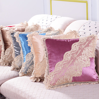 Free Cushion cover office Lace decorative lace pillow cushions Velvet lace car pillow Decorative cushion