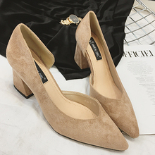 Spring Summer Sexy Single-Chip Women's Pumps 2017 Gradual Fashion Suede Genuine Leather Ladies Shoes Pointed Toe Women Pumps