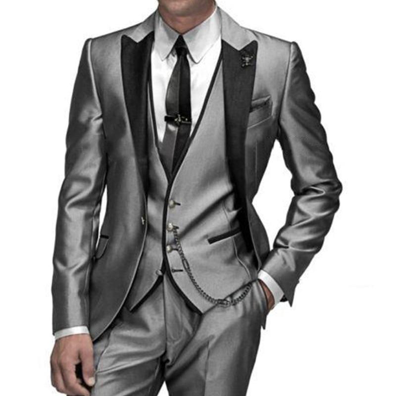 2017 Custom Made Groom Tuxedo silver men Suit peaked Lapel Best Groomsman Men Wedding Prom Suits Bridegroom Jacket+Pant+vest+tie