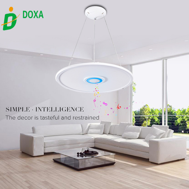 Hot Sale 36W Smart APP Control Bluetooth Music LED Pendant Lights Fixture  Acrylic Colorful Lamparas De