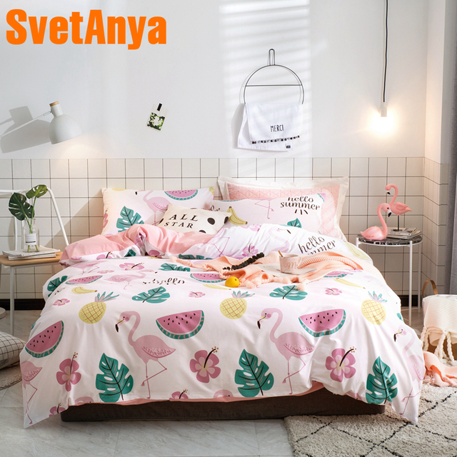 56511a5426f7 Svetanya Flamingo Watermelon Print Sheet Pillowcase Duvet Cover Sets Cotton  Bedlinen Twin Double Queen King Size Bedding Set