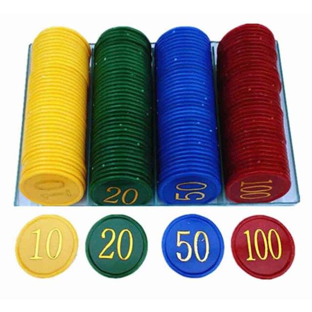 160 Pcs De Plástico Poker Chip com 4 Moedas de Ouro um Grande Número de Impressão para Fichas de Jogos de Plástico-Amarelo + Verde + vermelho + Azul