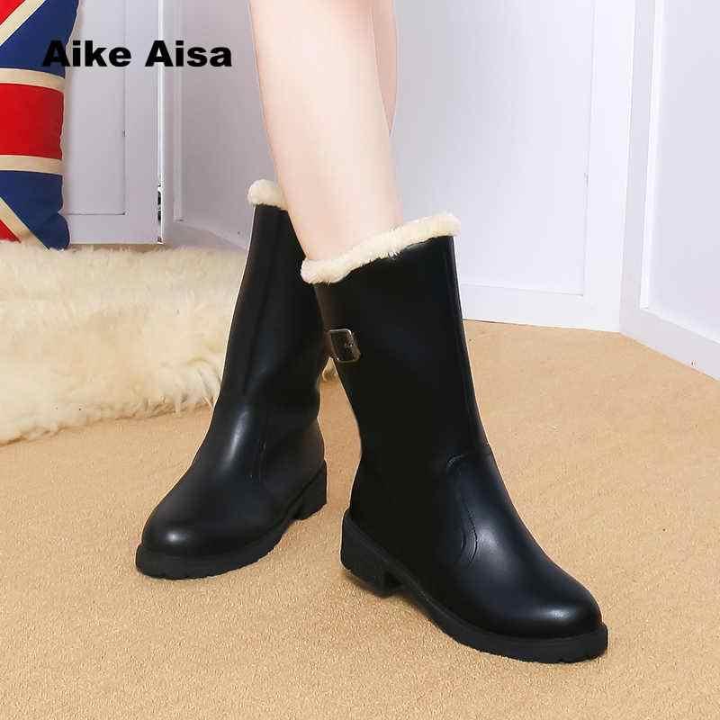 ec82744368a 2019 New Autumn Winter Mid-calf Women Boots Flats Heels Warm Plush PU  Leather High
