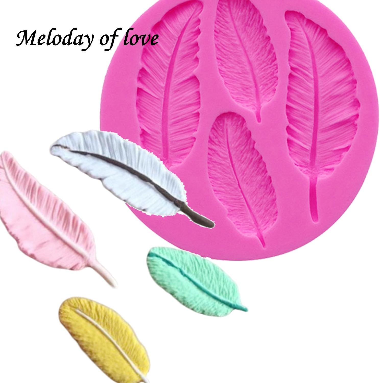 Aves Plumas de chocolate DIY fondant herramientas de decoración de pasteles encaje frontera molde de silicona utensilios de cocina para hornear T0057