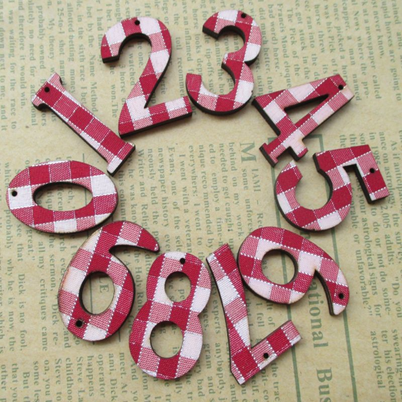 50pcs/set red Wood Wooden Numbers Alphabet For Wedding Birthday Home Decor decoration About 30 mm 017027014