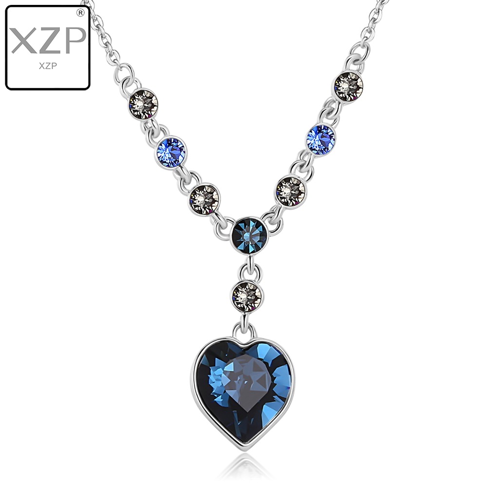 ef98c16e28f1 XZP de cristal austriaca de Zircon de joyería de moda para las mujeres 2019  colgante azul Titanic corazón del océano collar de oro blanco