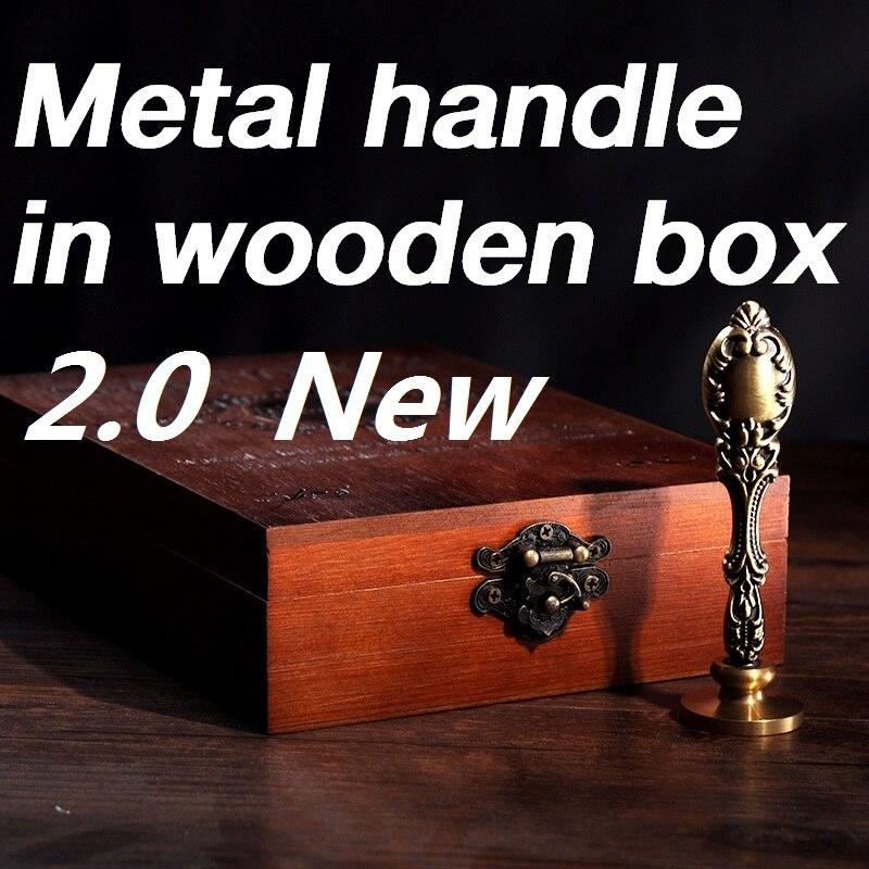 Neue anpassen Stempel mit Holz Box, Retro Stil Siegellack Stempel set, Deluxe geschenkset 26 alphets/gruß wörter Metall griff