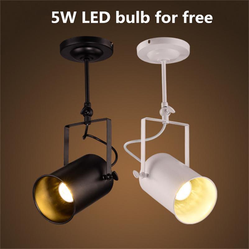 Loft Vintage LED luces de pista hierro forjado lámparas de techo ropa Bar COB Industrial estilo americano Rod Spot iluminación