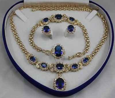 Niebieski kryształ wisiorek obrączka naszyjnik stadniny kolczyki i bransoletka biżuteria zestaw zegarek hurtownie (AKK116)