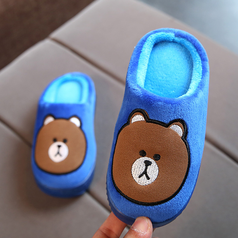 Kid S Cotton Slippers Autumn Winter Home Shoes Slippers Boys Girls Cartoon Shoes Indoor Velvet Warm