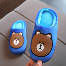 Kid'S Cotton Slippers Autumn/Winter Home Shoes Slippers Boys Girls Cartoon Shoes Indoor Velvet Warm Slippers Soft Bottom Shoes