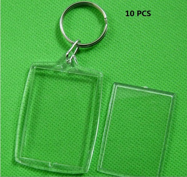 10 Pcs Transparent Blank Photo Picture Frame Key Ring Split Ring Keychain