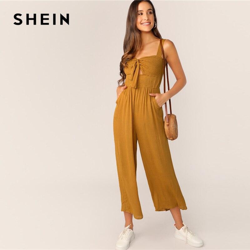 SHEIN Knot Front Shirred Bodice Wide Leg   Jumpsuit   2019 Boho Ginger Pocket Straps Spring Summer Sleeveless Wide Leg   Jumpsuit