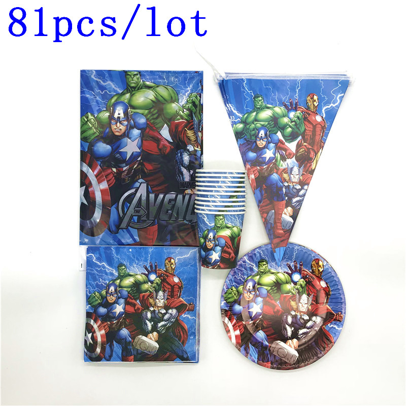 81Pcs Thor Avenger Theme Captain America Tablecover Cup Plate Flag Baby Shower Kids Birthday Napkin Banner Decoration Supplies