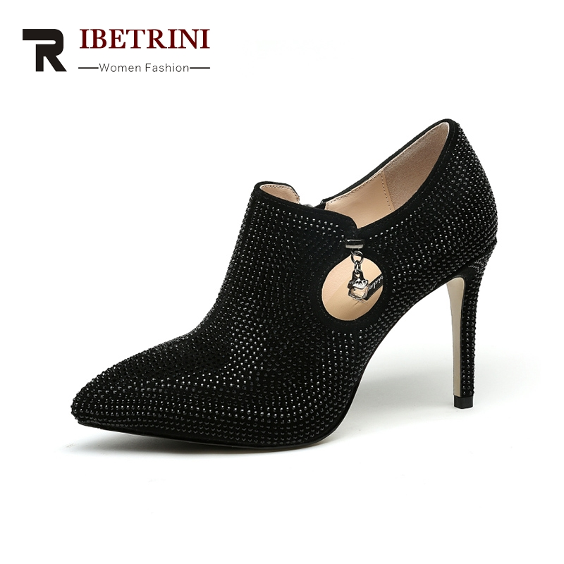 RIBETRINI 2018 Spring Autumn Brand Special Material Deep Pumps Leather Insole Zip Shoes Woman Fashion High Heels Women Shoe siketu 2017 free shipping spring and autumn women shoes fashion sex high heels shoes red wedding shoes pumps g107
