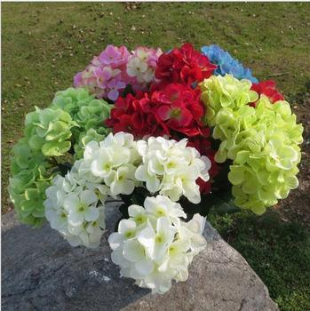 Artificial Hydrangea Flower Fake Silk 6 Small Head Hydrangeas 5 Colors for Wedding Centerpieces Home Party Decorative Flowers