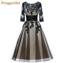 FENGGUILAI Lace Gowns with Long Sleeves Lace Arabic Formal Dress BLACK Elegant Women Dress Evening Gown Plus Size цена в Москве и Питере
