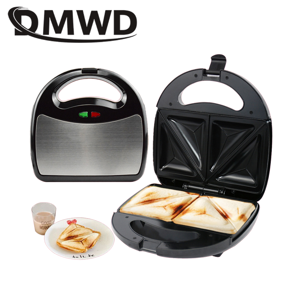 DMWD Electric Sandwich Maker Household Mini Grill Bread Waffle Pancakes baking Machine Non-stick Iron Pan Cake Oven 750 watts EU