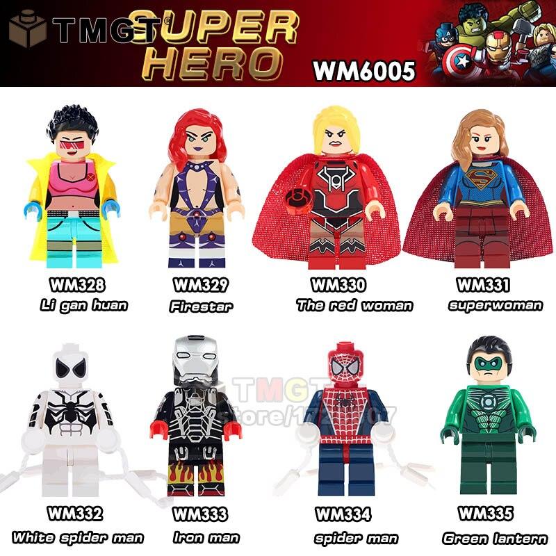 TMGT 50PCS LOT Super Hero Jubilee Fierstar Red Lanterns Spider man Iron man Building Blocks Bricks