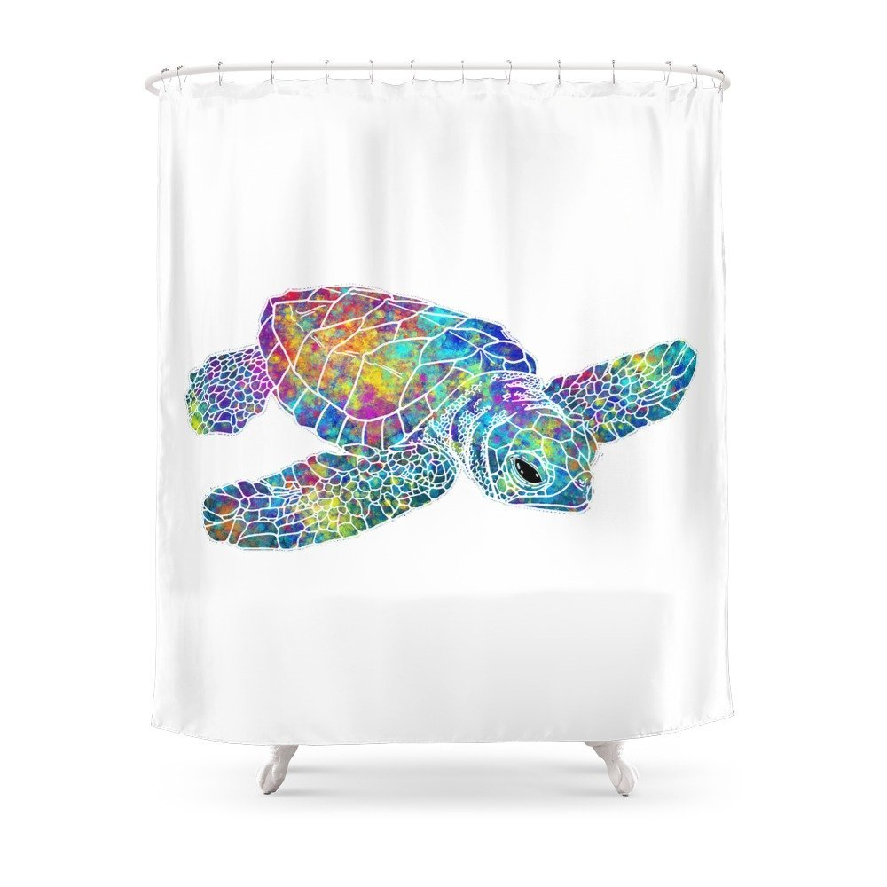 Colorful Sea Turtle Shower Curtain Fabric With 12 Hooks Waterproof And Mildewproof In Curtains From Home Garden On Aliexpress