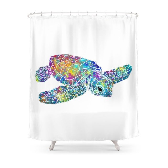 Colorful Sea Turtle Shower Curtain Fabric With 12 Hooks Waterproof And Mildewproof