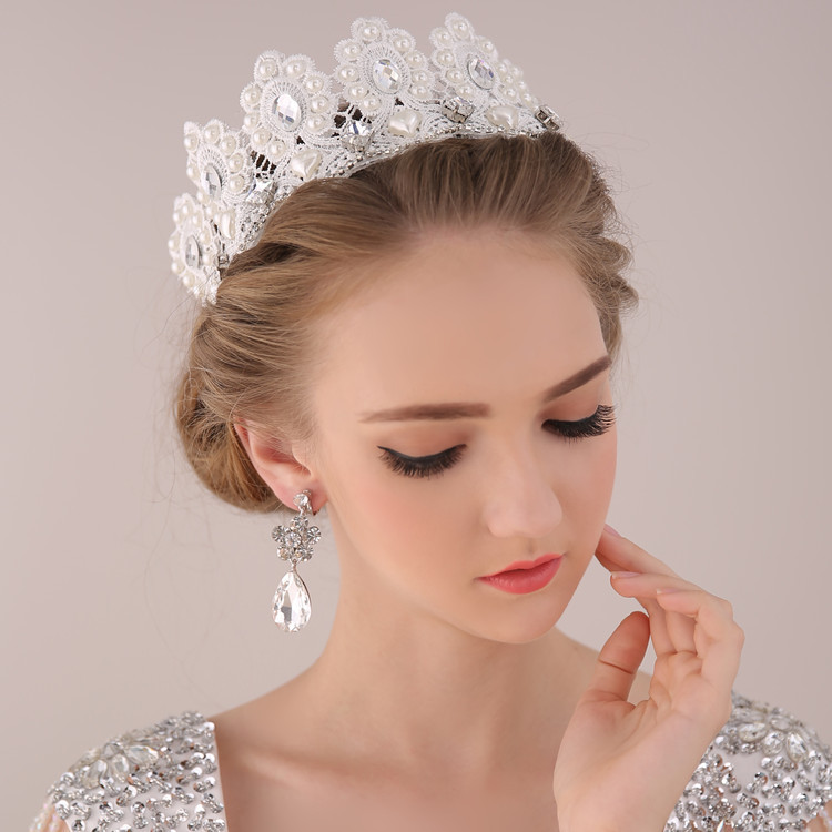 Bridal and wedding tiaras 100 images best 25 wedding tiara bridal and wedding tiaras fashion charms court handmade lace pearl bridal crown and earring junglespirit Gallery