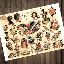 new 2017 vintage tattoos patterned posters kraft paper about long beach wall decoration barber shop home - Beach Decor Shop