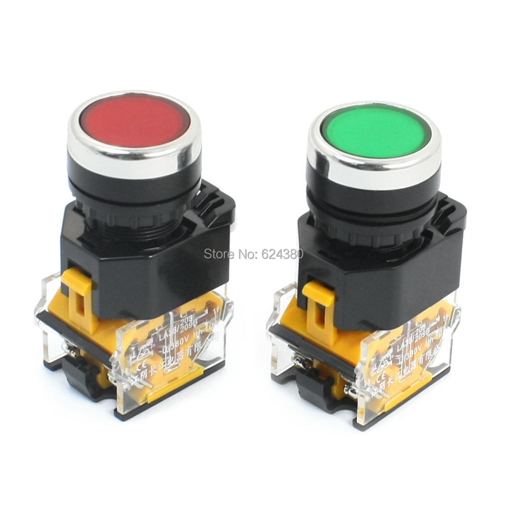 LA38 11 Red Green Signal Sign Momentary Push Button Switch DPST 1 ...