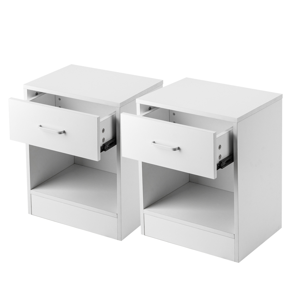 2pcs Wood Night Stand 2 Tiers 1 Drawer Bedside End Table Bedroom Furniture Organizer Storage Basket Nightstands Blakc White