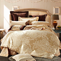 SunnyRain 4 6 Pieces White Jacquard Silk Cotton Luxury Bedding Set King Size Queen Bed Set