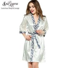 sparogerss women robe gown set 2017 fashion faux silk robe femme satin sleepwear home suit night sleep 2 pcs bathrobe set 10221