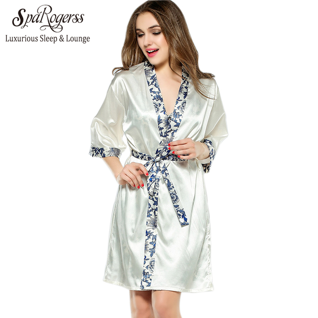 2cbde90345 SpaRogerss Women Robe Gown Set 2018 Fashion Faux Silk Robe Femme Satin Sleepwear  Home Suit Night Sleep 2 pcs Bathrobe Set YT221