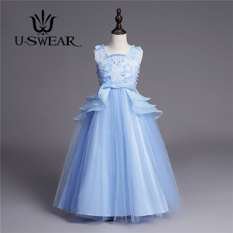 U-SWEAR 2019 New Arrival 5 Colors   Flower     Girl     Dress   Flora Appliqued Embroidery Ruffles Little   Girls   Pageant   Dresses